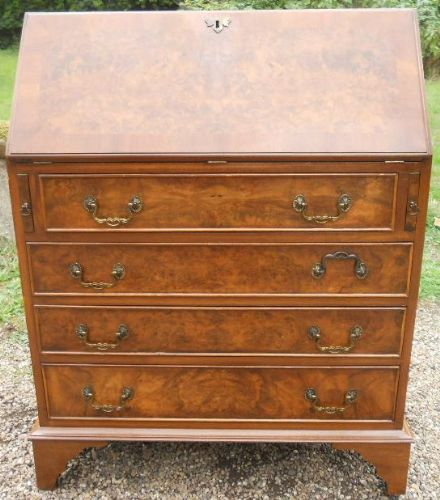 Burr Walnut Writing Bureau by Reprodux